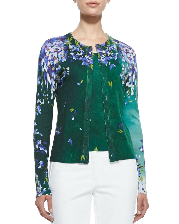 Escada Long Sleeve Floral Cardigan in Green | Lyst