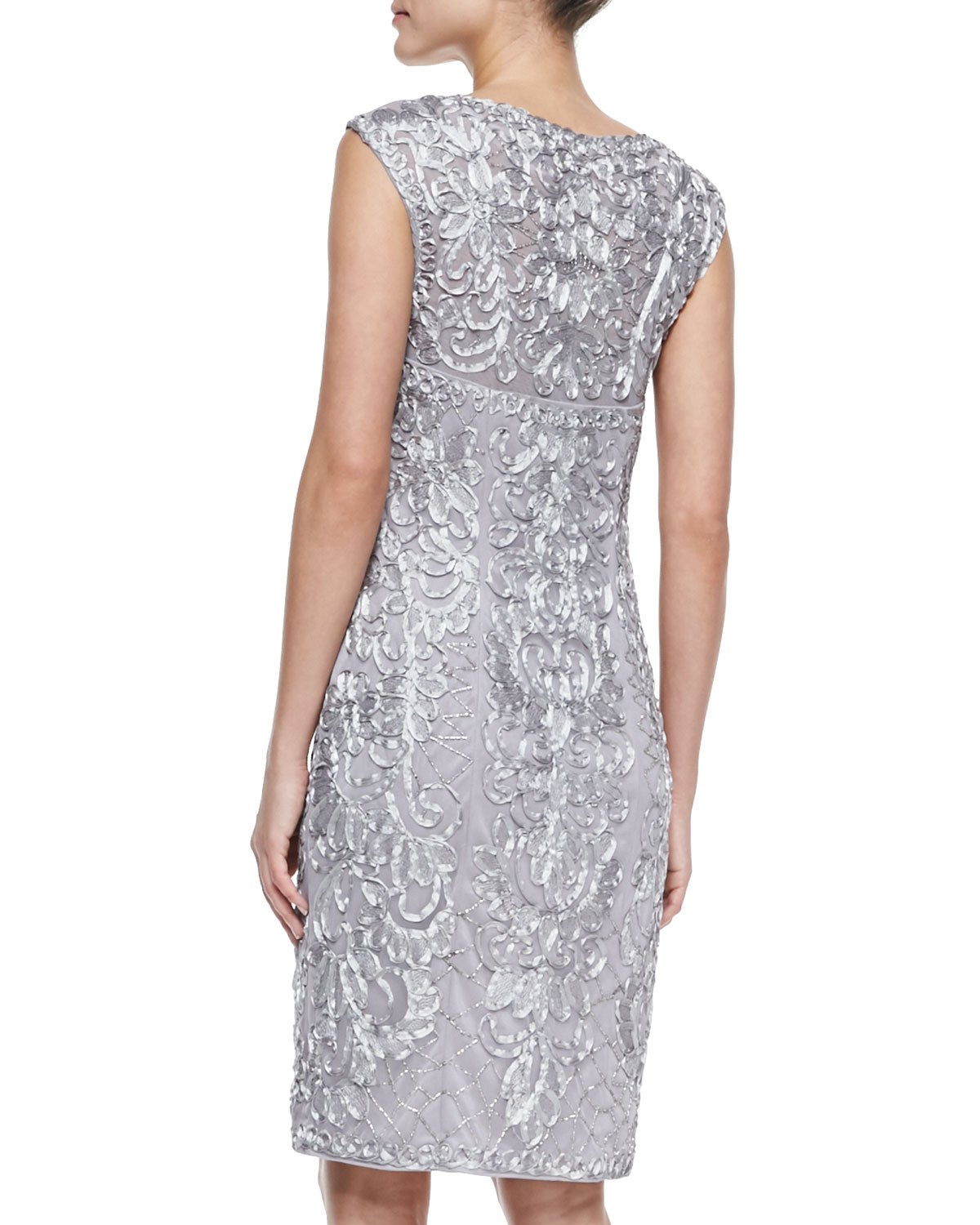 sue wong sleeveless beaded embroidered cocktail dress in