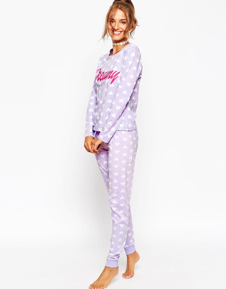 19e455c33 ASOS Dreamy Long Sleeve Tee   Legging Pyjama Set in Purple - Lyst