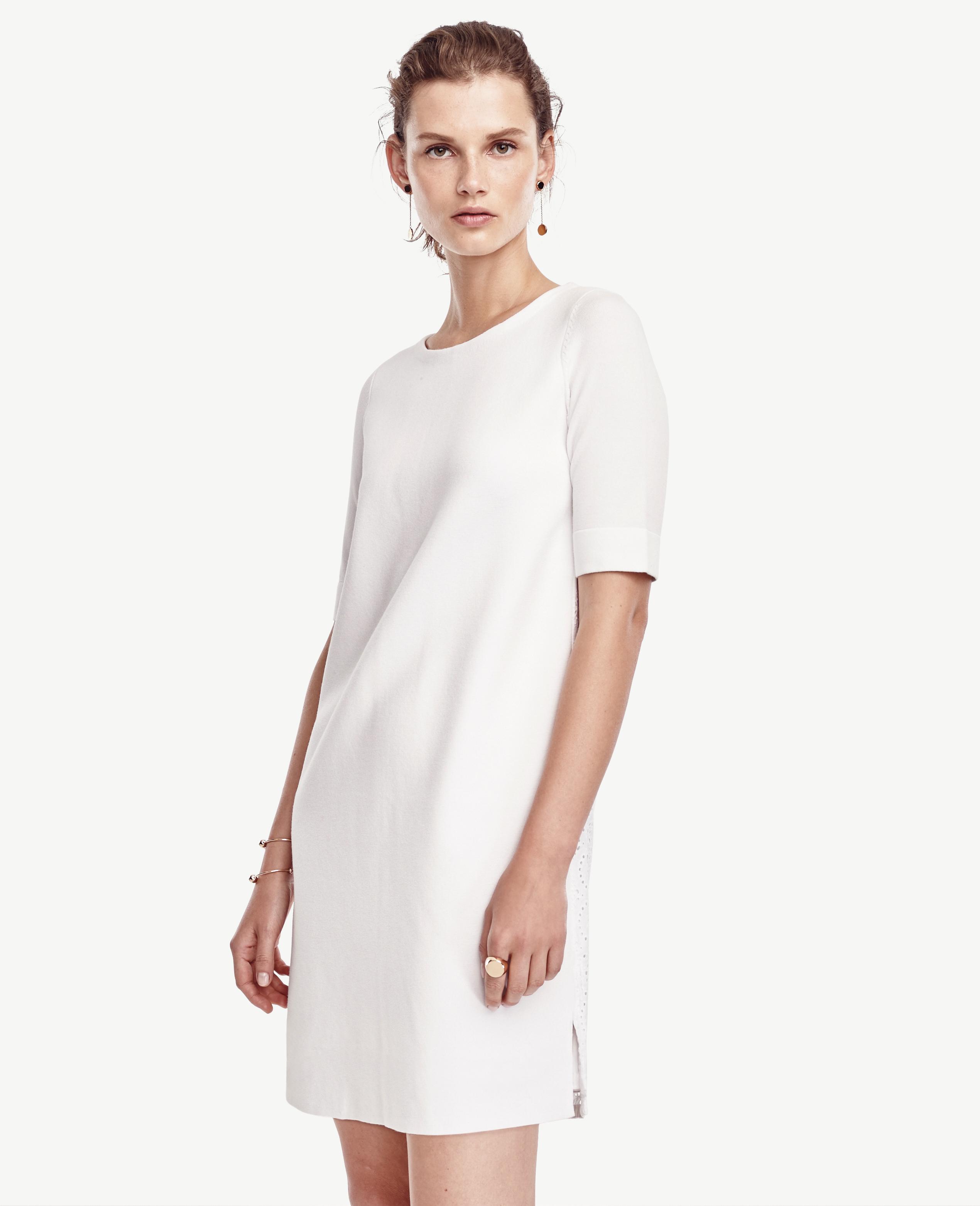 67a66e03e36f Lyst - Ann Taylor Petite Eyelet Back Dress in White