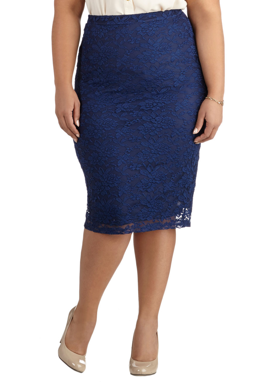modcloth impressionist exhibit skirt in navy plus size in