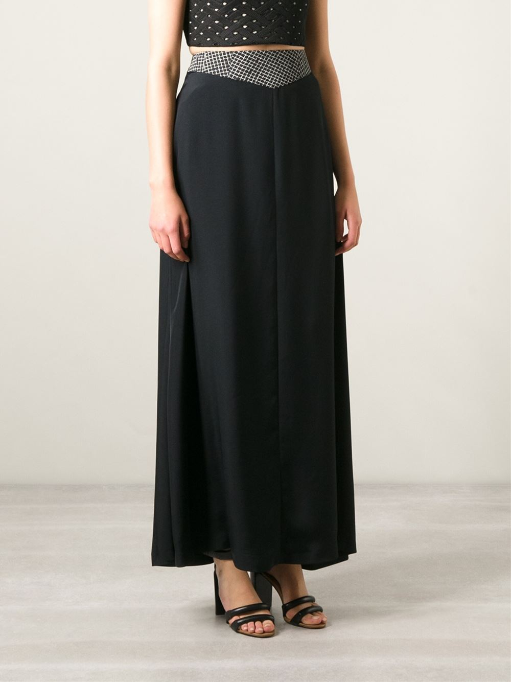 costume national high waisted maxi skirt in black lyst