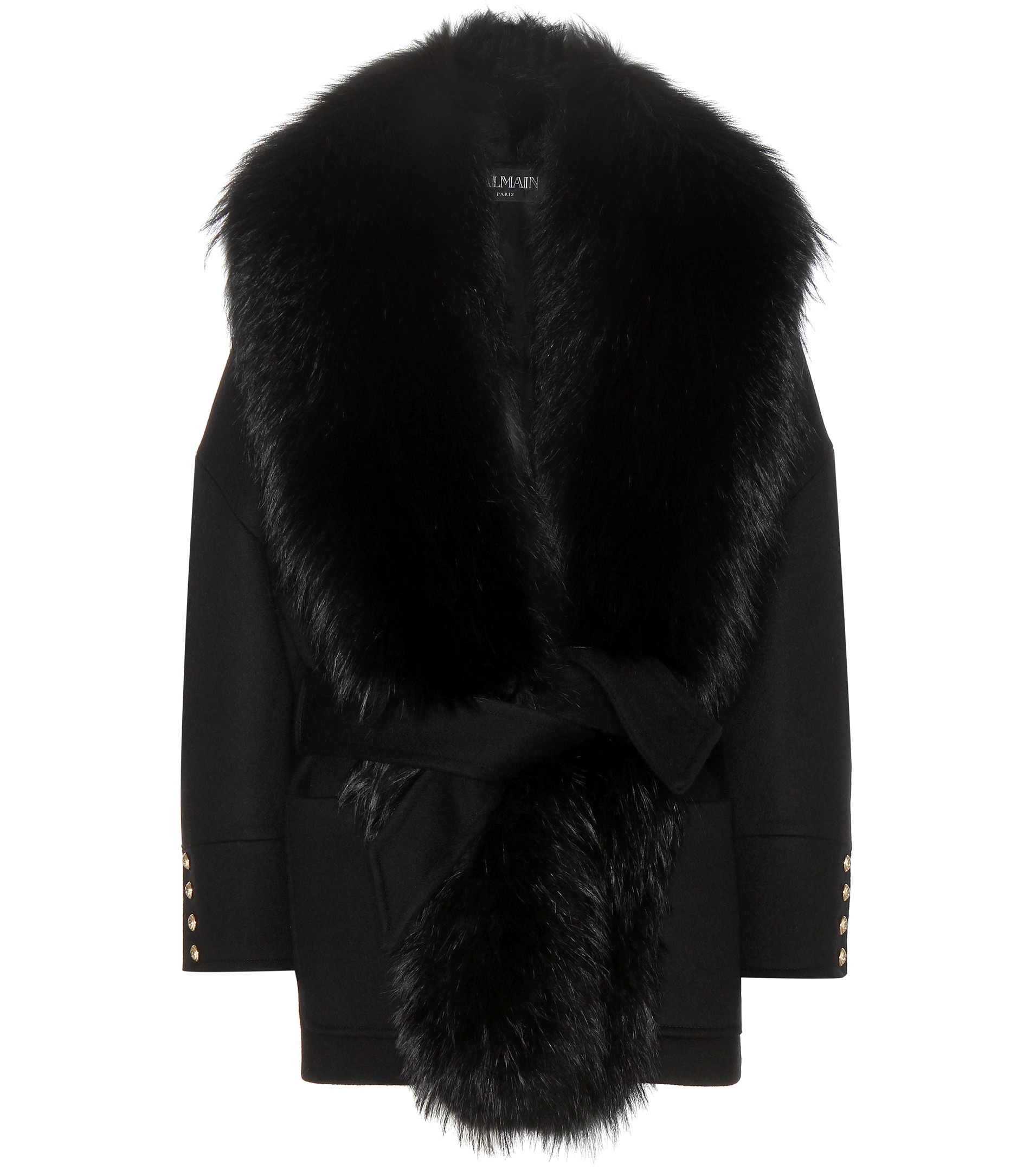 Balmain Fur-trimmed Wool And Cashmere Coat in Black | Lyst