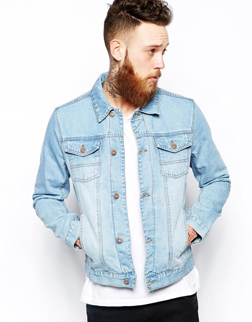 02fbde405ec ASOS Denim Jacket with Bleach Wash in Blue for Men - Lyst