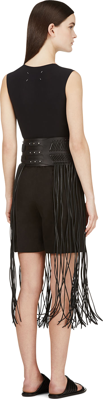 Rick owens Black Leather Fringed Hula Belt in Black | Lyst