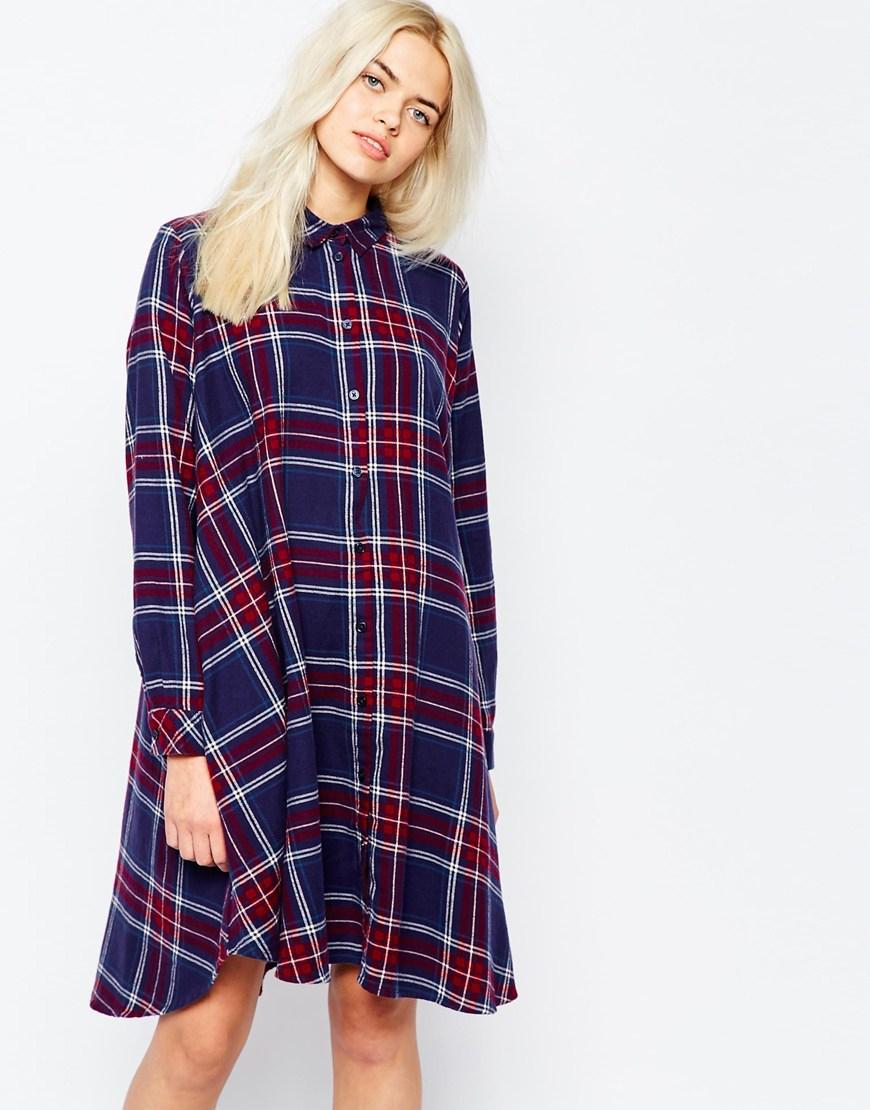 Lyst Monki Oversized Check Shirt Swing Dress In Blue