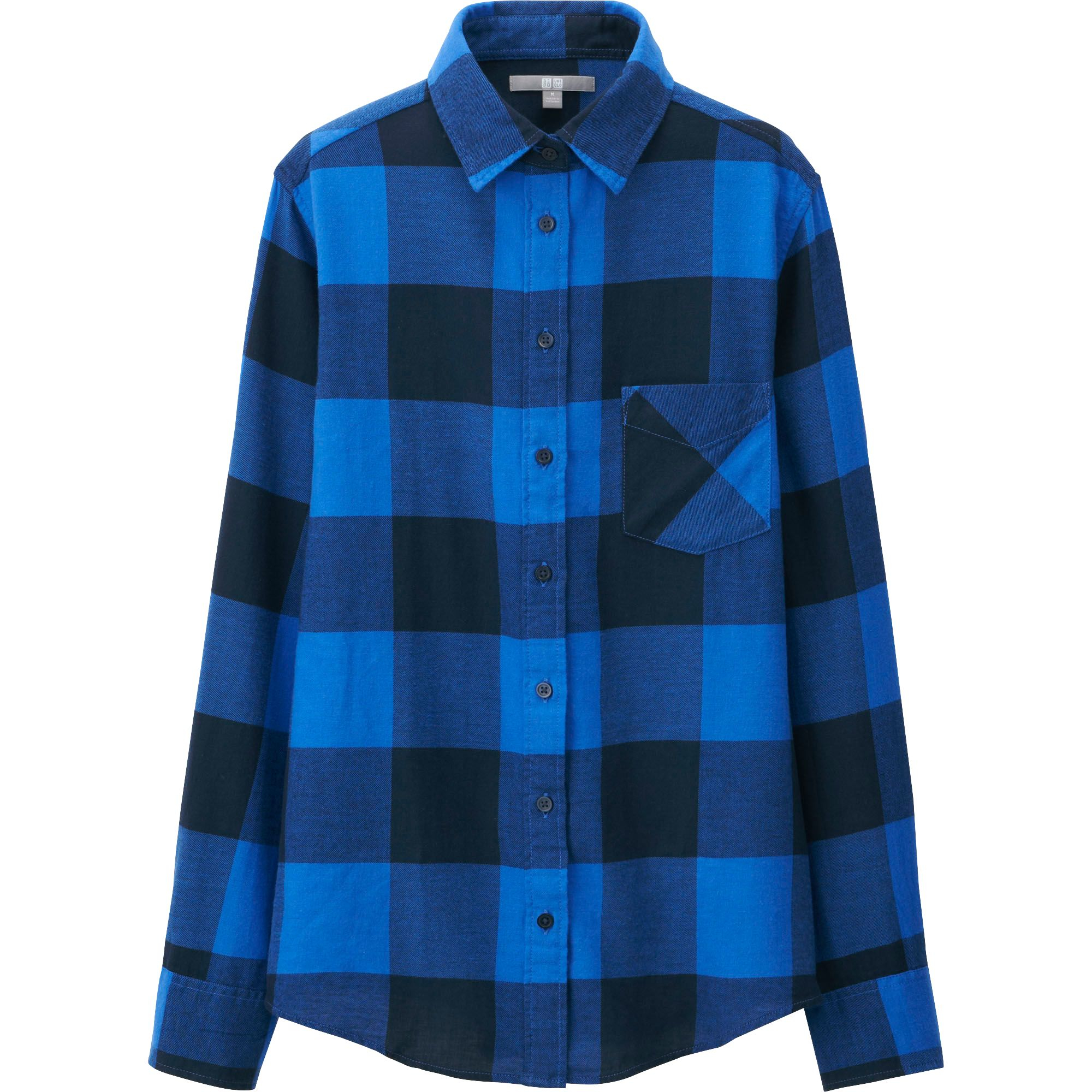 uniqlo women flannel check long sleeve shirt in blue