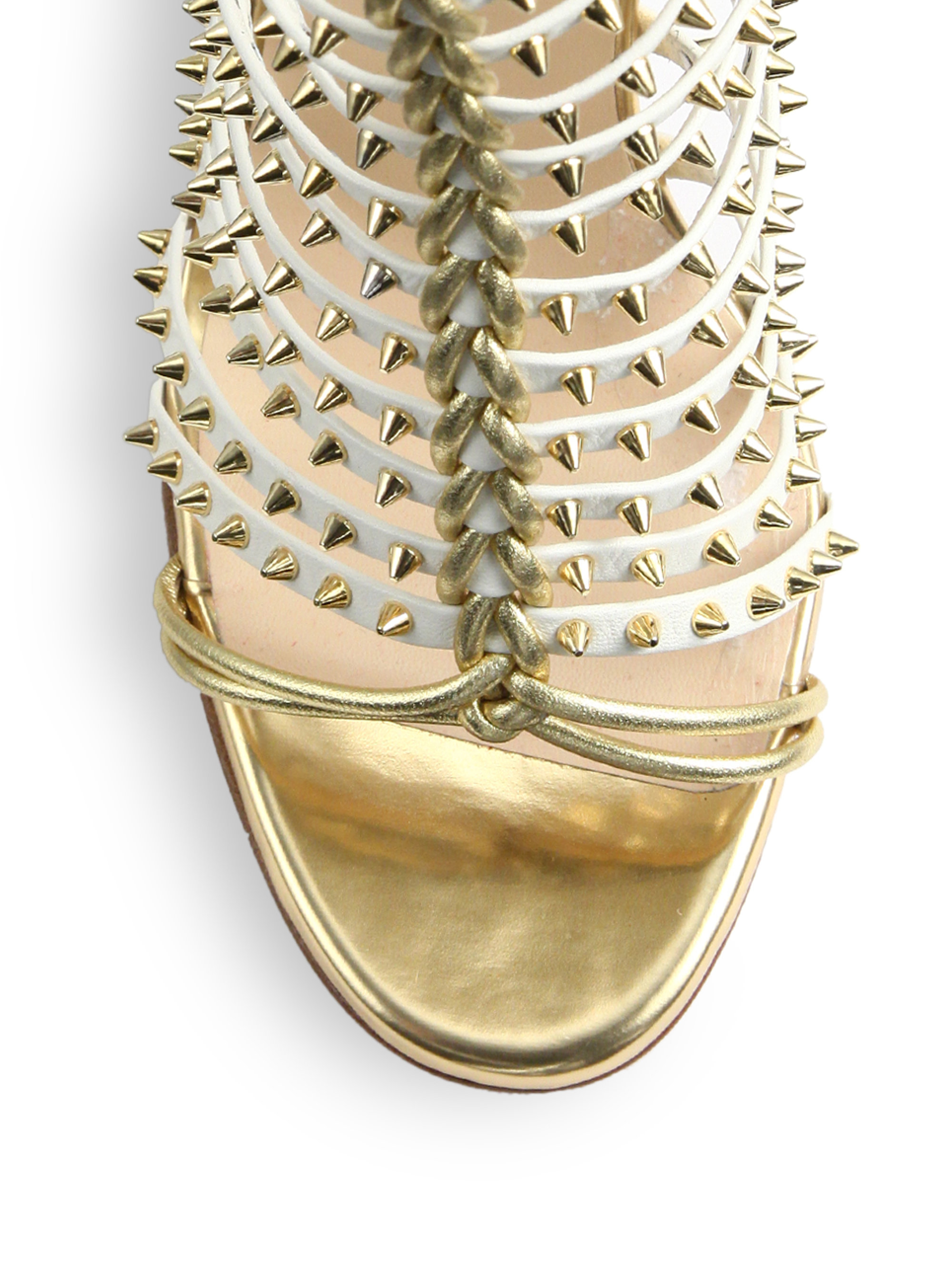 Christian louboutin Millaclou Studded Leather Sandals in White ...