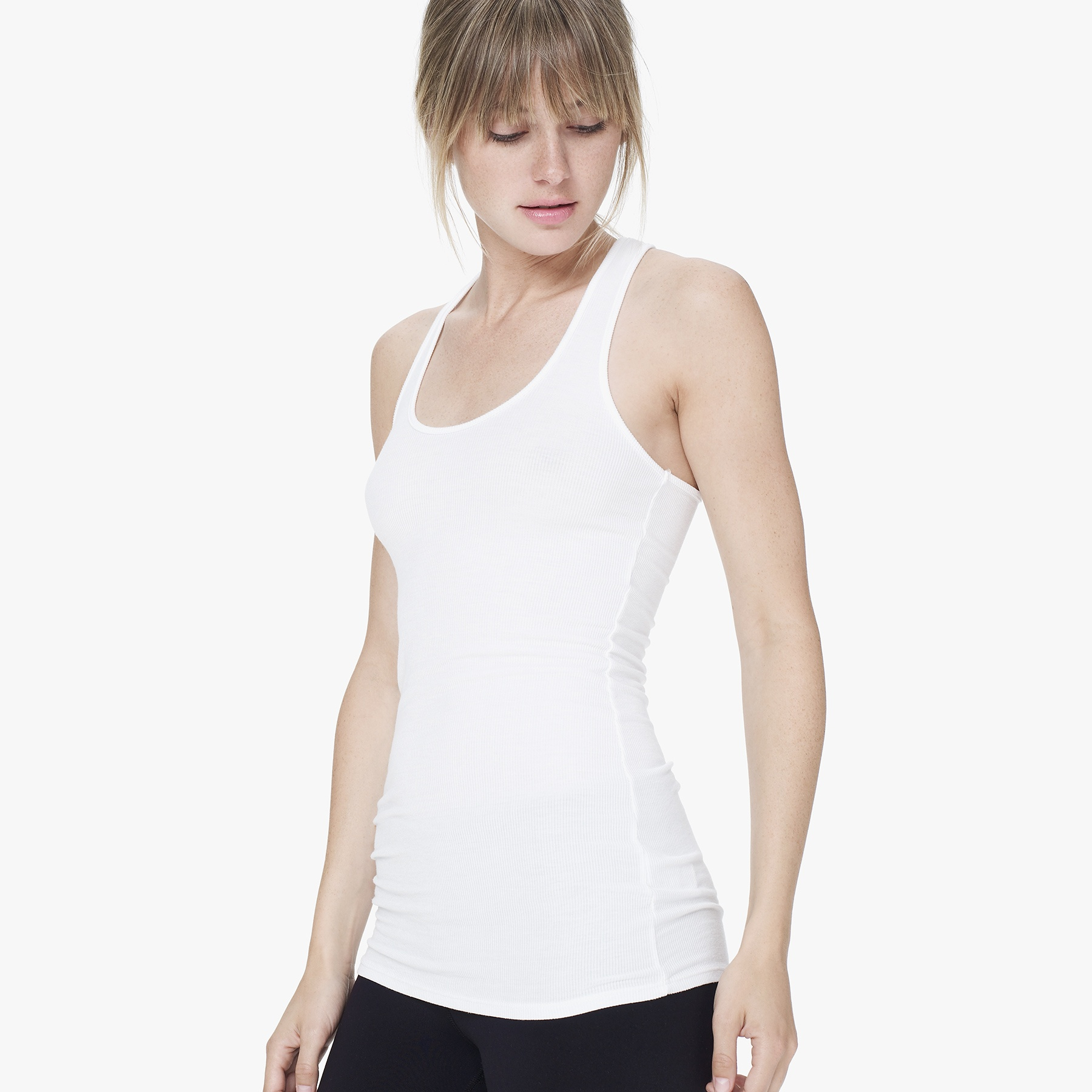 8ace85a66d0 Lyst - James Perse Yosemite Skinny Racerback Tank in White