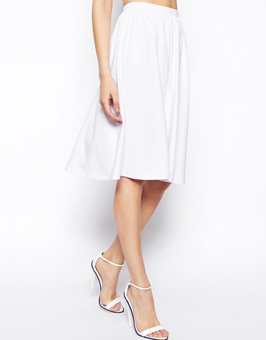 Asos Midi Skater Skirt in White | Lyst