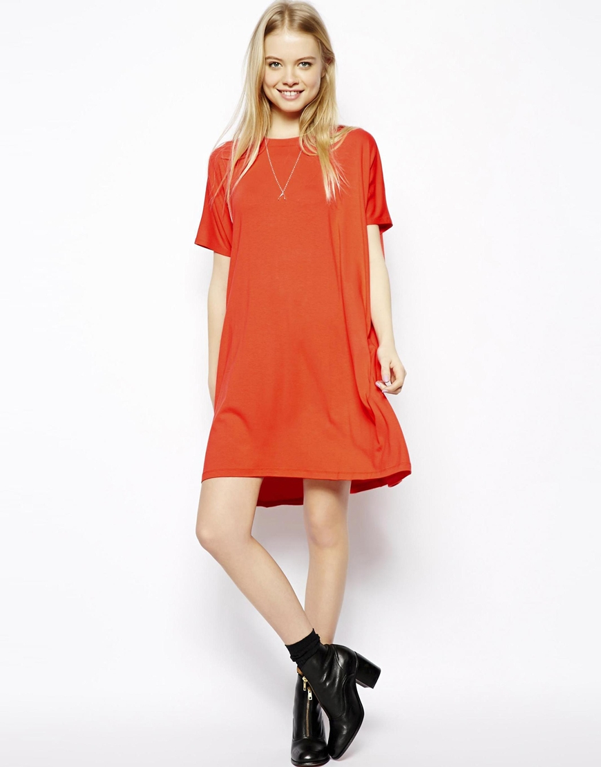 Asos T-shirt Dress With Short Sleeves in Red | Lyst