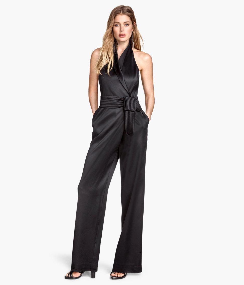 lyst h m jumpsuit in a lyocell blend in black. Black Bedroom Furniture Sets. Home Design Ideas