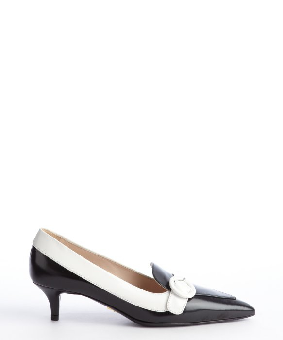 Prada Black And White Leather Pointed Toe Kitten Heel Pumps in ...