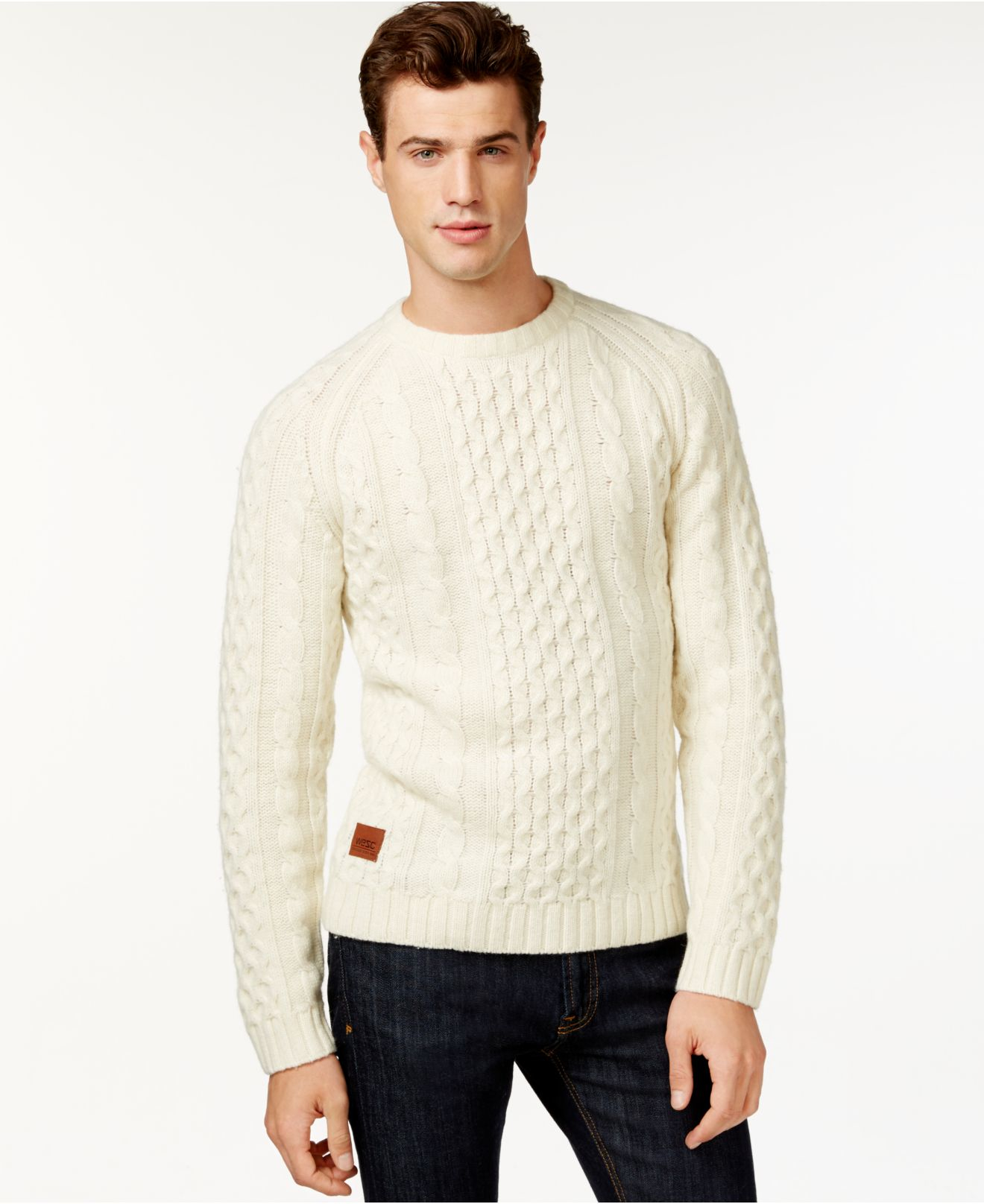 Wesc Cabe Cable-knit Sweater in Natural for Men | Lyst