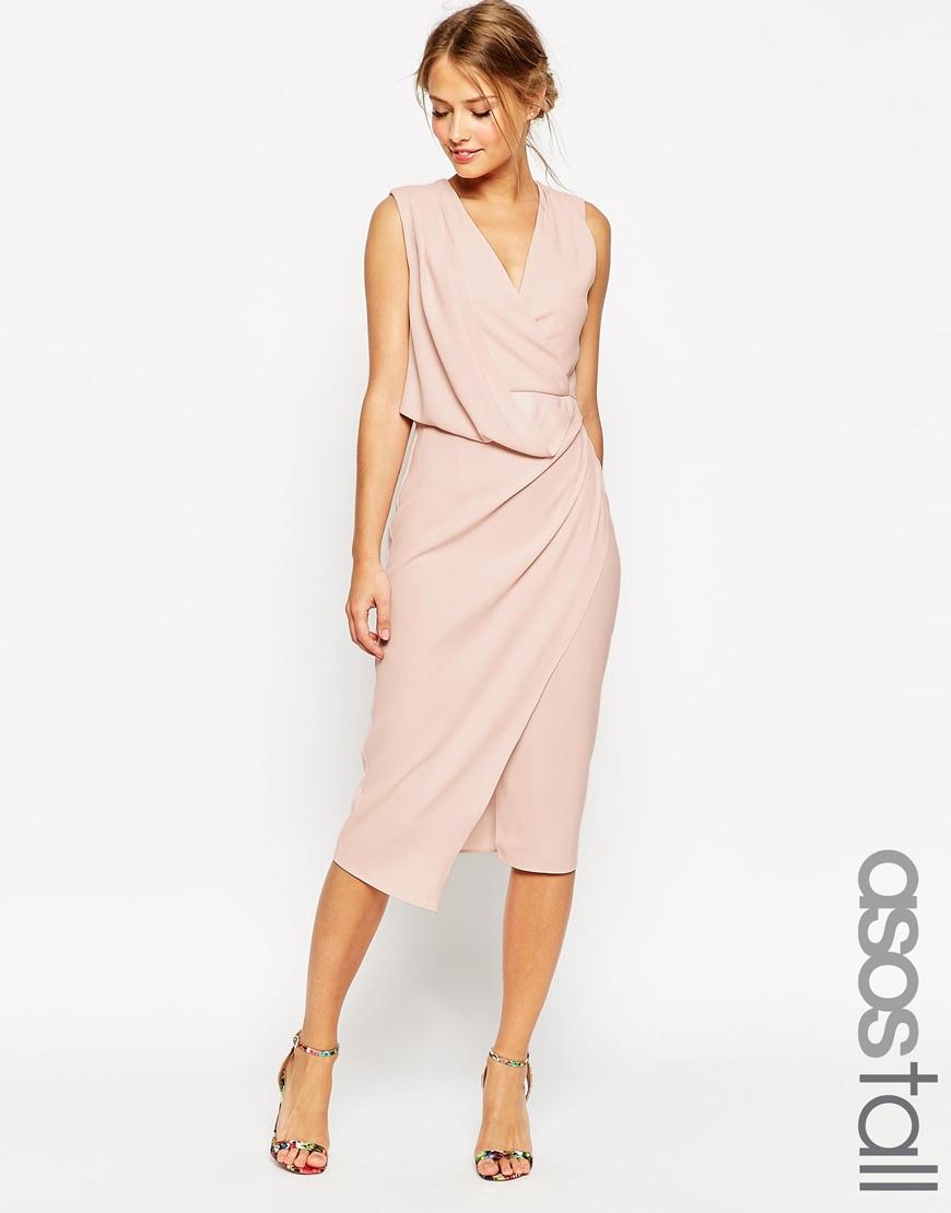 Asos tall wedding wrap drape midi dress in beige nude lyst for Tall dresses for weddings