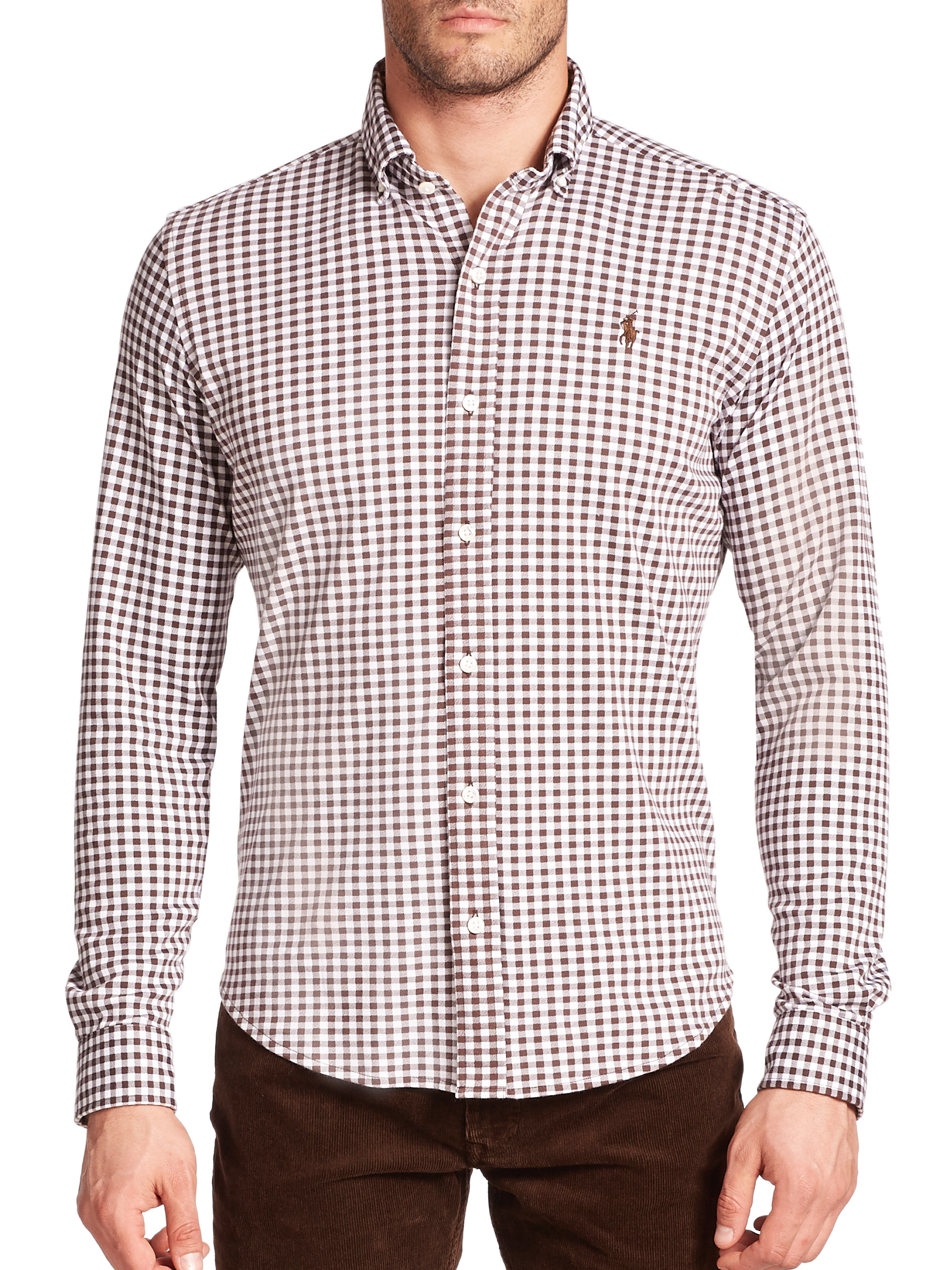 Polo ralph lauren Gingham Knit Dress Shirt in Brown for Men | Lyst