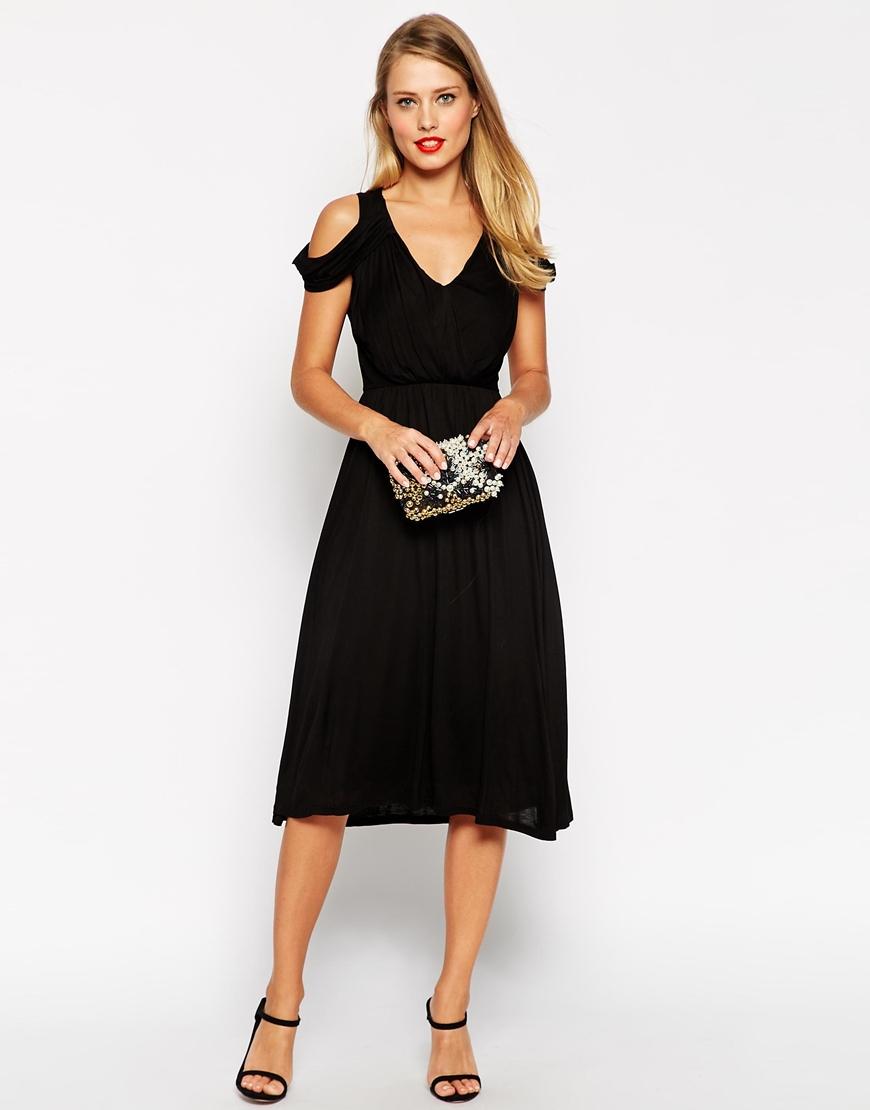 asos drape cold shoulder midi wrap dress in black lyst. Black Bedroom Furniture Sets. Home Design Ideas