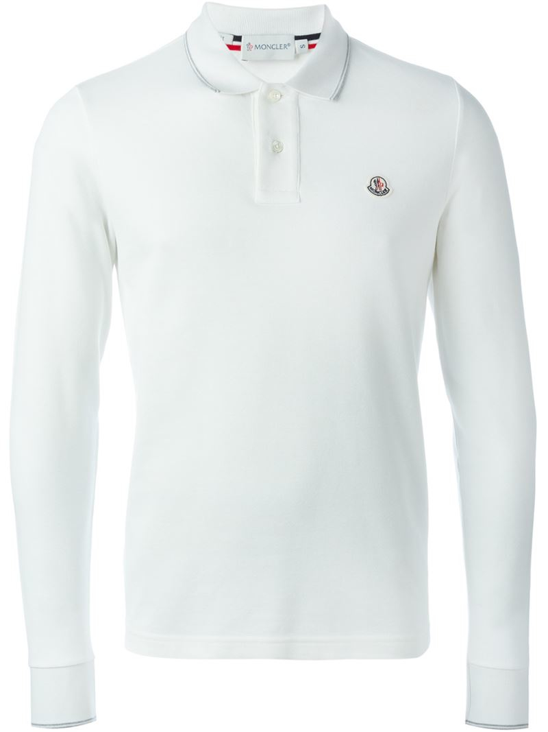 Moncler Long Sleeve Polo Shirt In White For Men Lyst