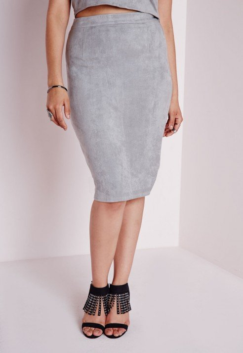 Grey Suede Skirt