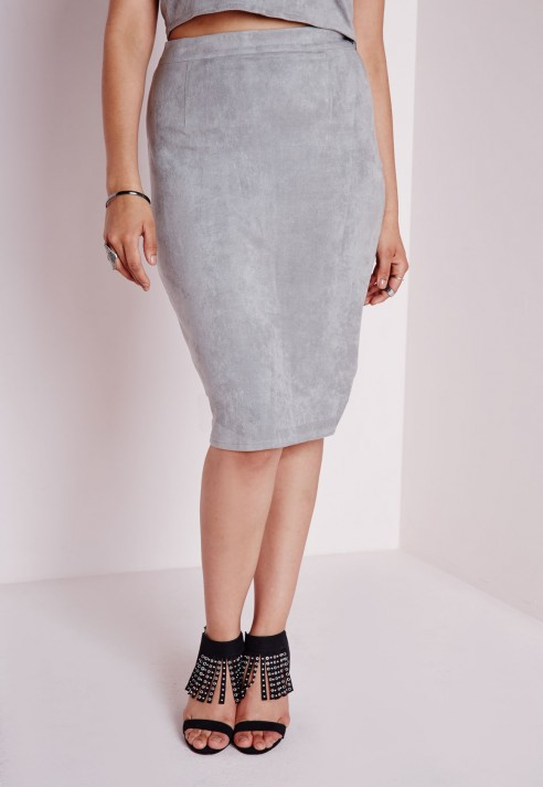 Missguided Plus Size Faux Suede Midi Skirt Grey in Gray | Lyst