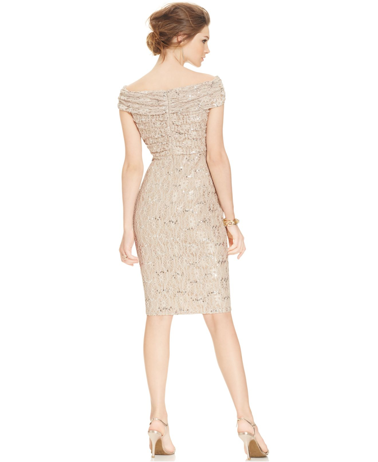 Taupe and Gold Cocktail Dresses