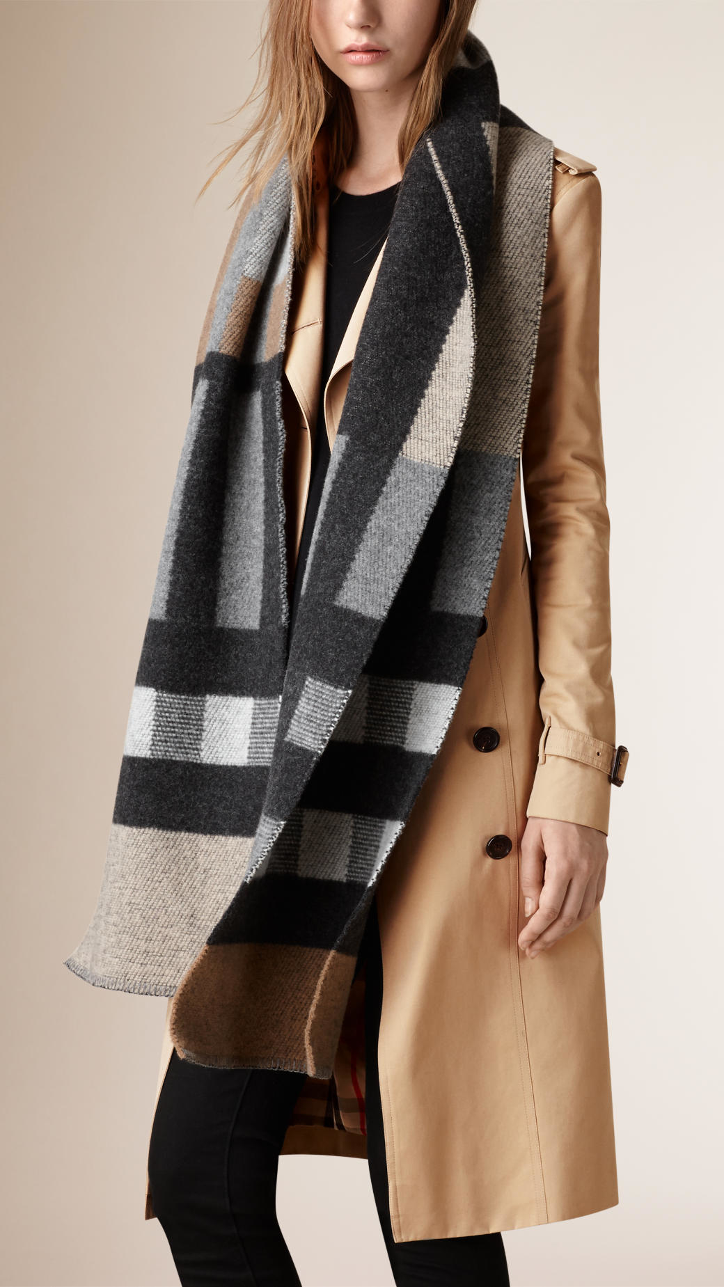 ... authentic lyst burberry patchwork check wool cashmere blanket scarf in  natural 674a8 aa001 fa362a93b2782