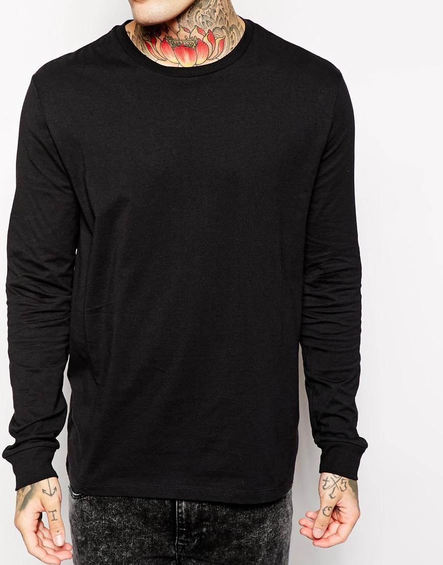 Lyst asos long sleeve tshirt in skater fit long length for Long length long sleeve t shirts