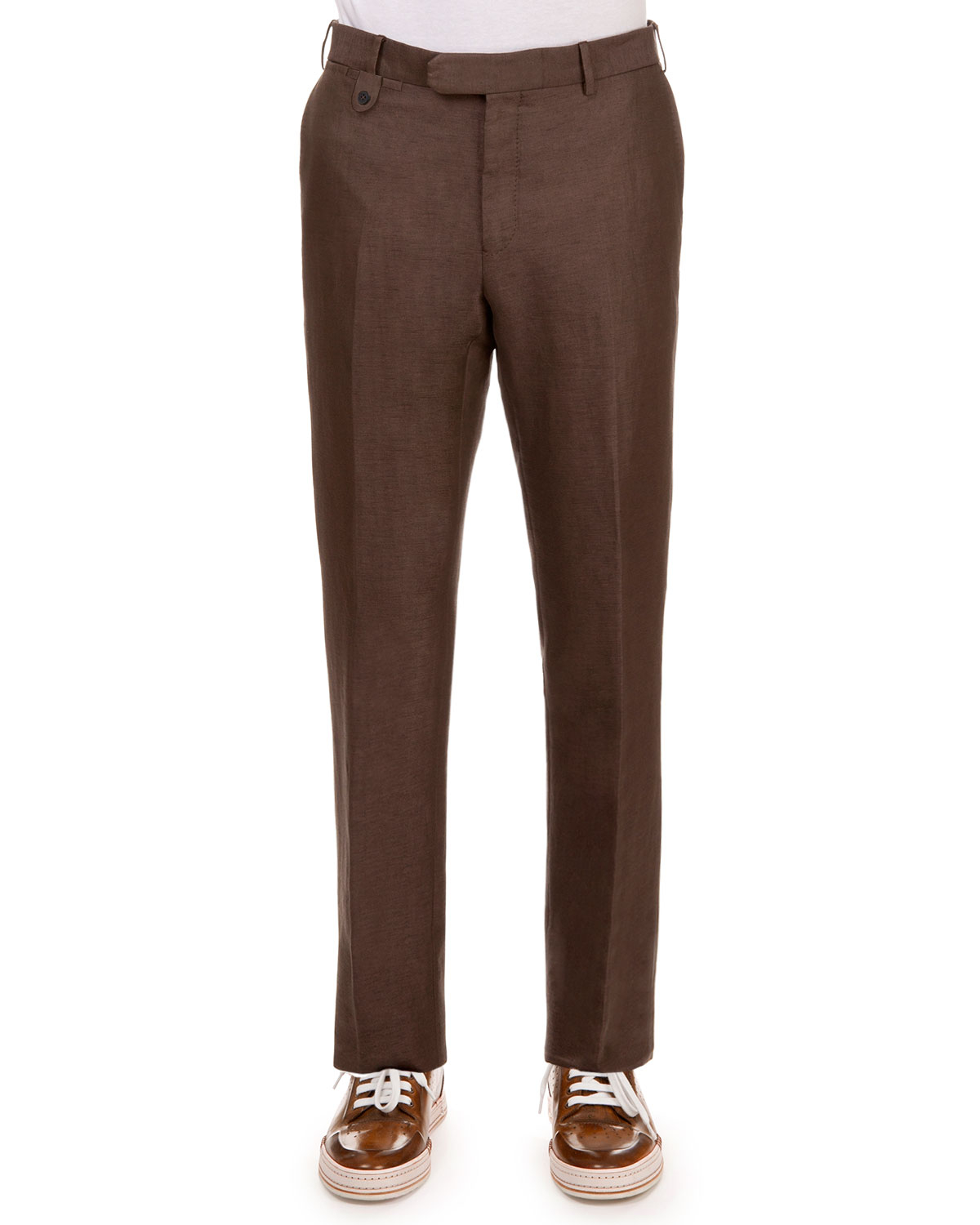 Berluti Linen-blend Flat-front Trousers in Brown for Men | Lyst