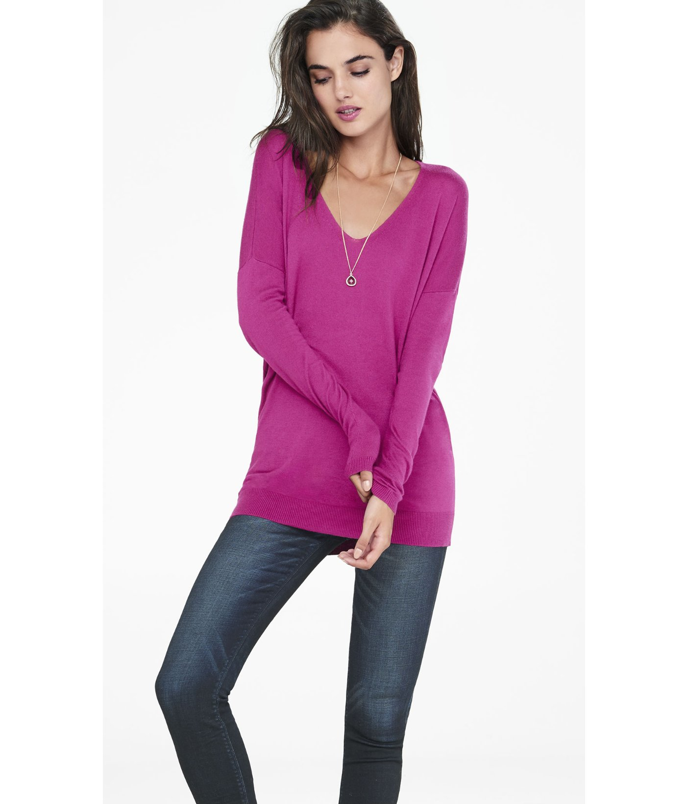 Express Hint Of Cashmere V-neck Wedge Tunic Sweater in Purple | Lyst