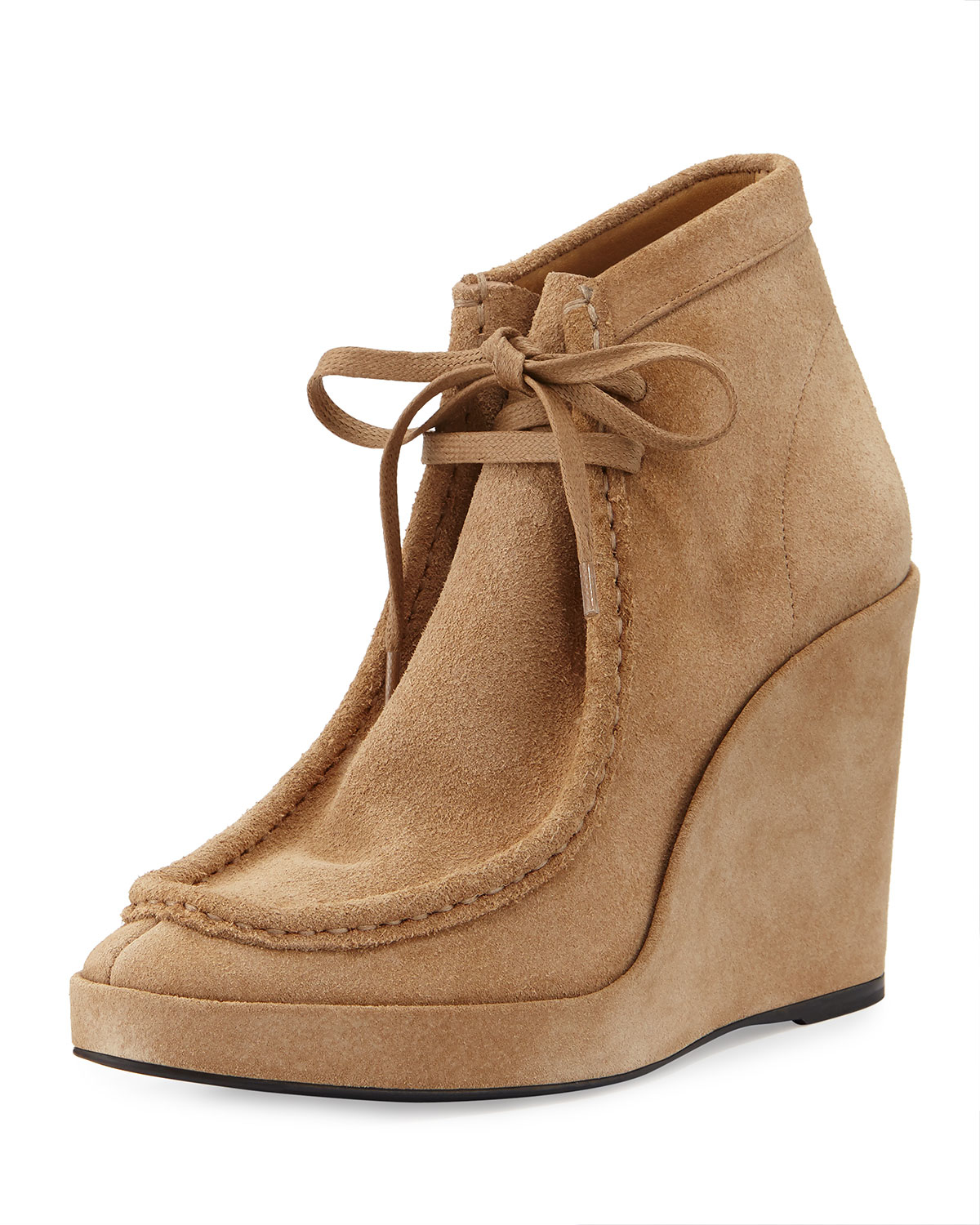 Balenciaga Lace-Front Suede Wedge Boots in Natural | Lyst