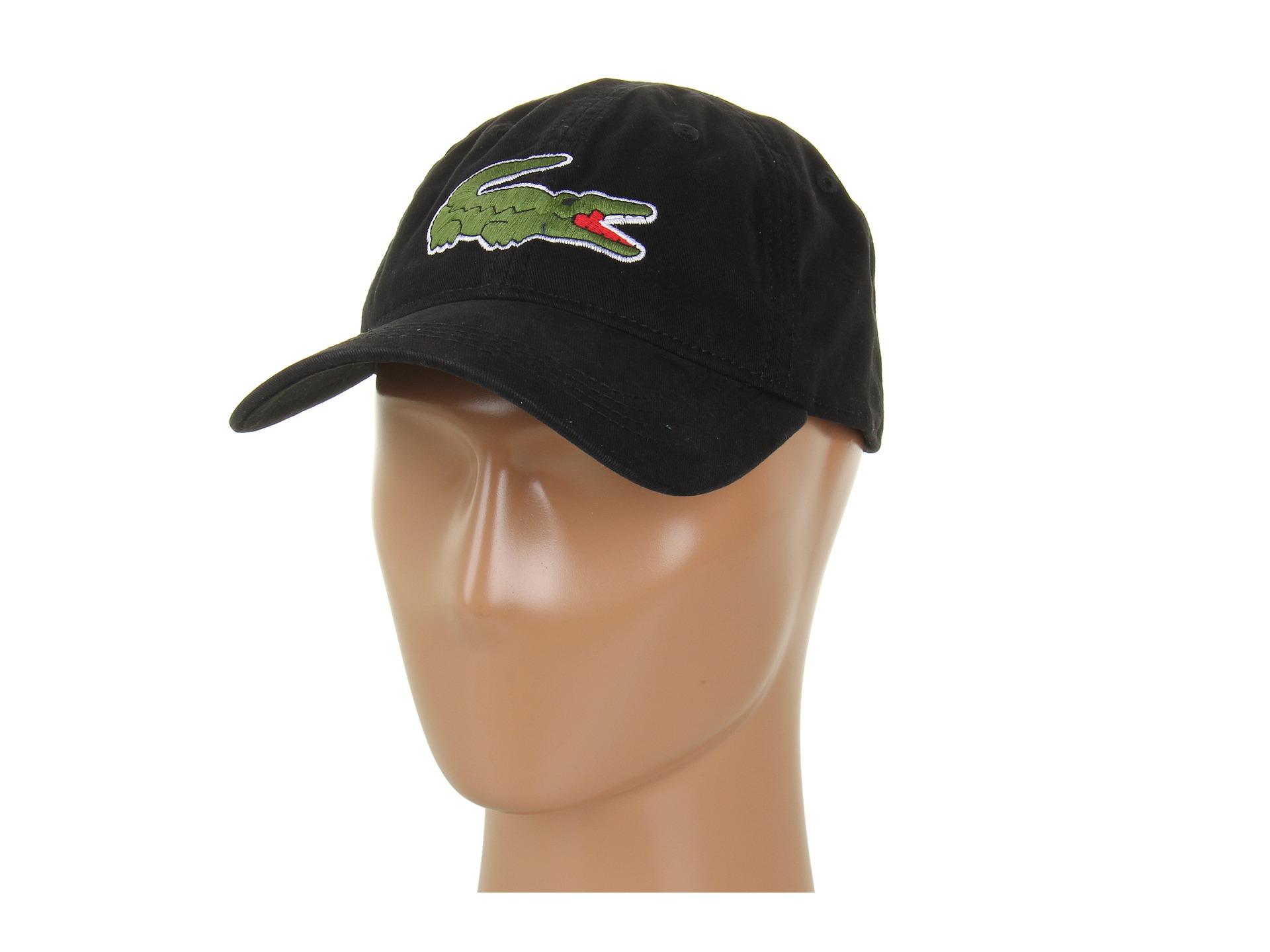 Lyst - Lacoste Large Croc Gabardine Cap in Black for Men c62eb9849ae