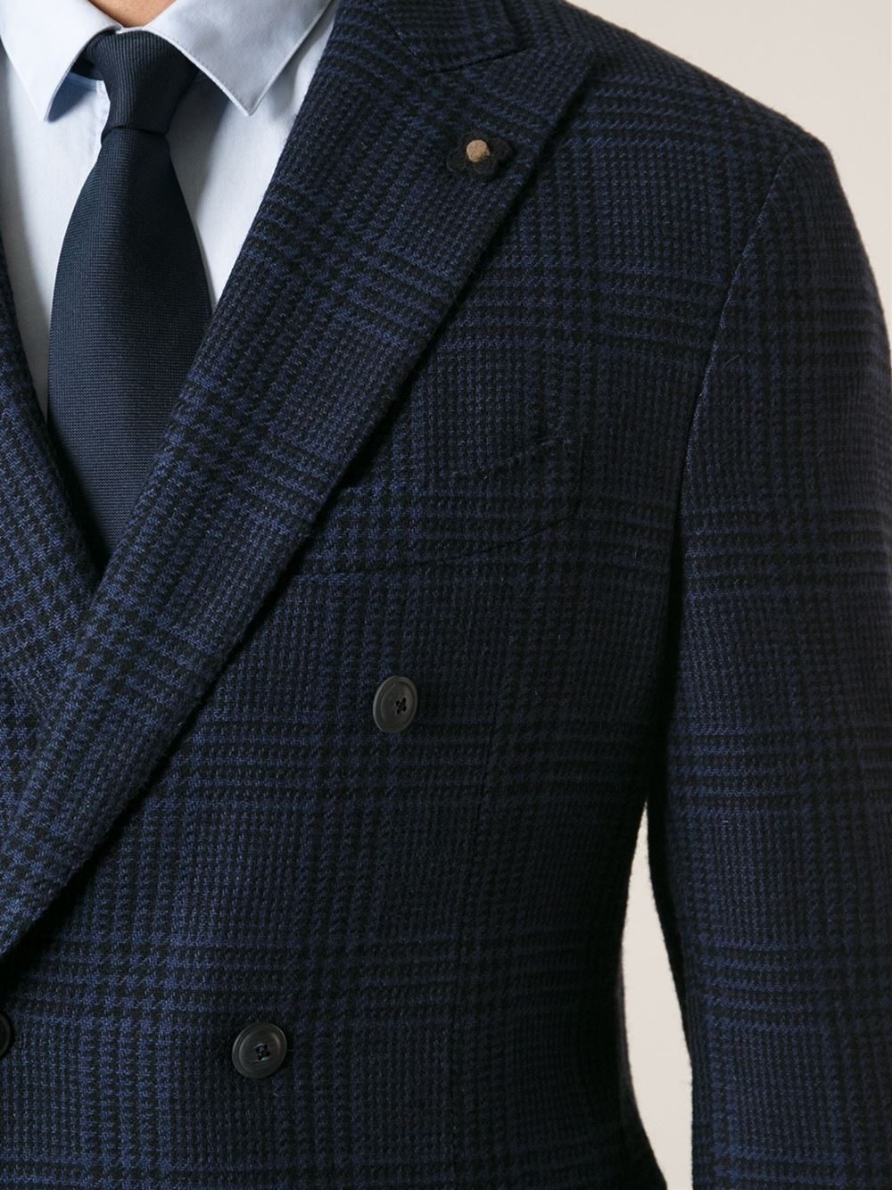 Lyst Lardini Checked Double Breasted Jacket In Blue For Men