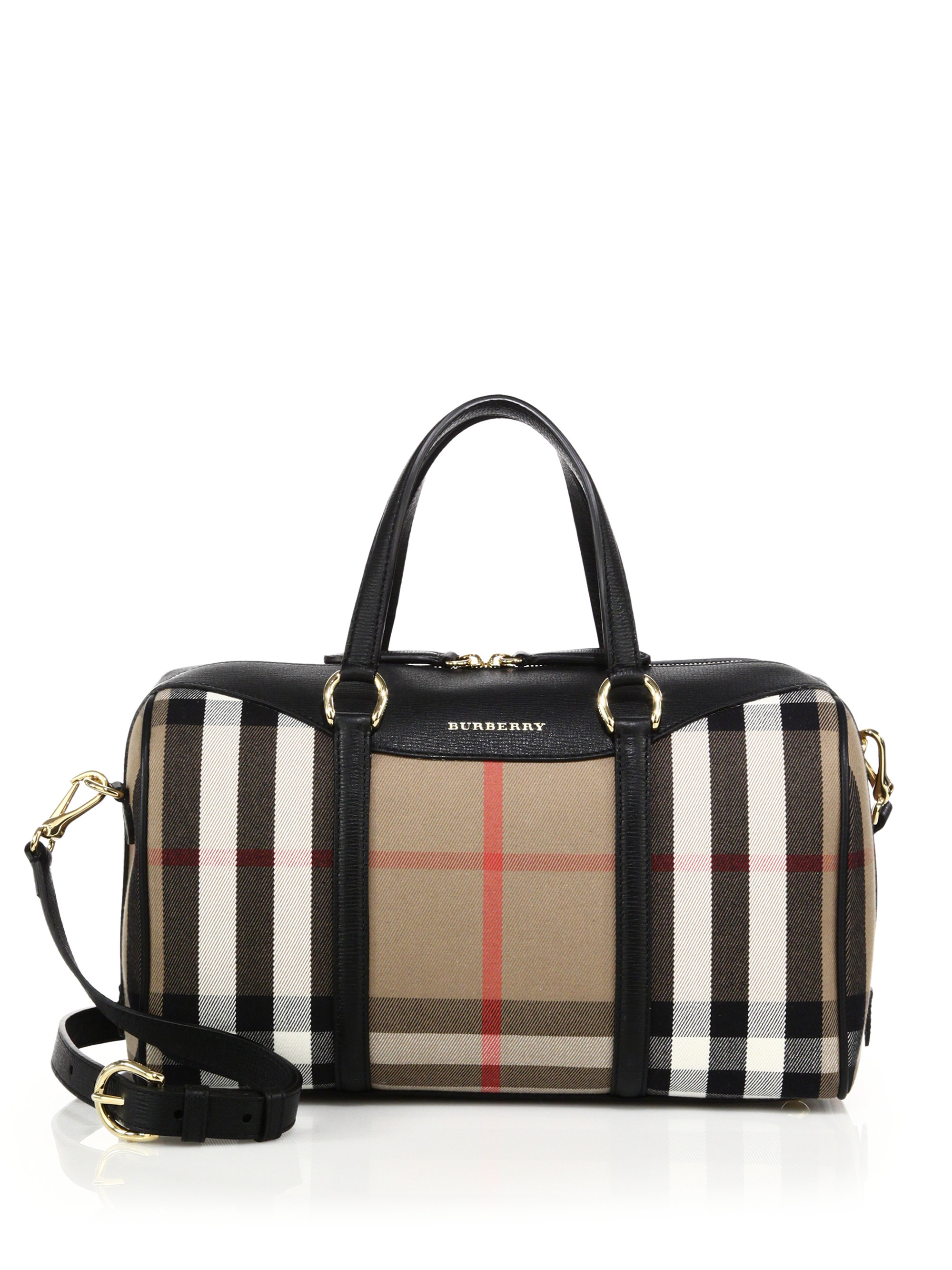 Lyst - Burberry Alchester Medium House Check Cotton   Leather Bowler ... 8979e0fd94146
