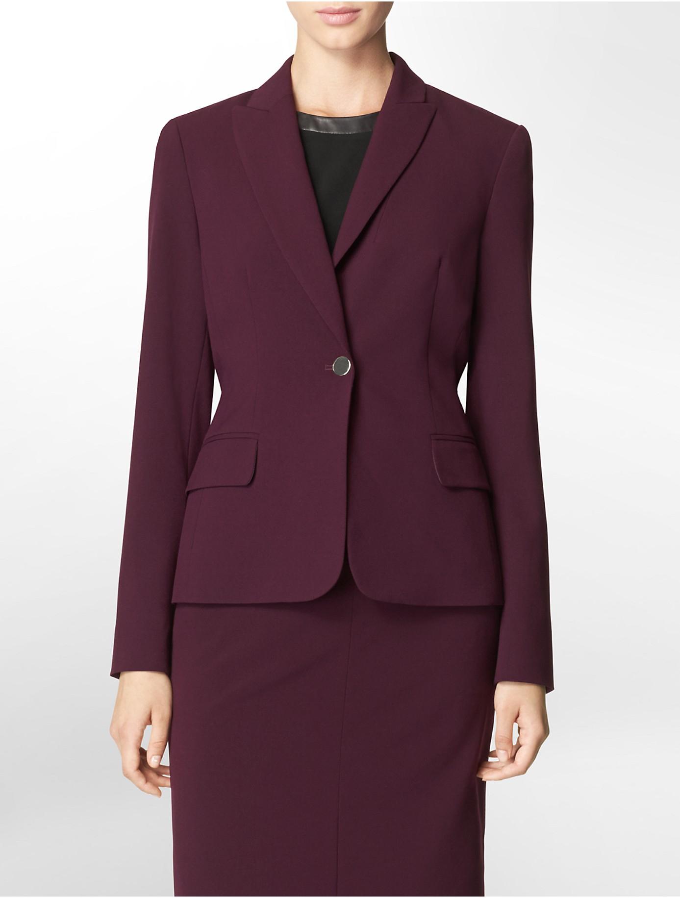 Calvin Klein One Button Aubergine Suit Jacket In Purple Lyst