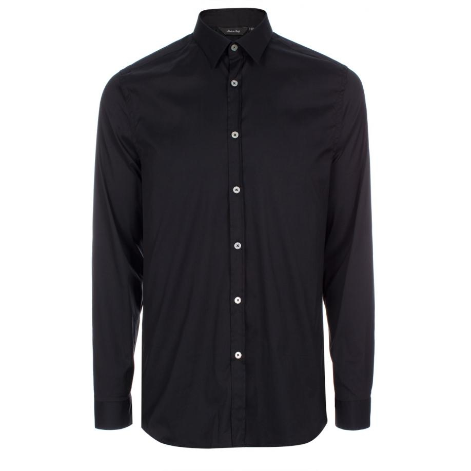 Paul Smith Men 39 S Slim Fit Black Stretch Cotton Shirt In