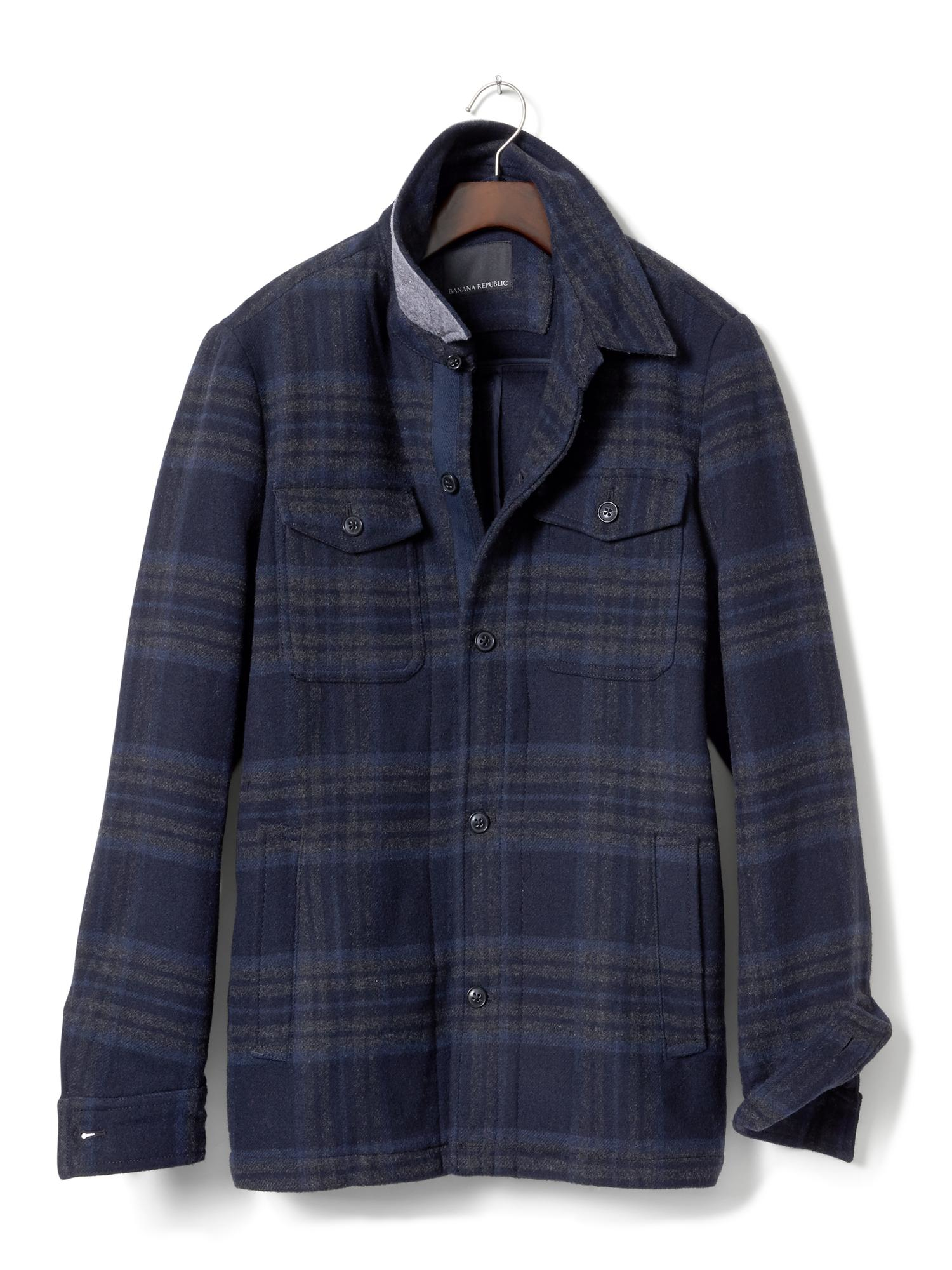 Banana Republic Plaid Shirt Jacket In Blue For Men Basic