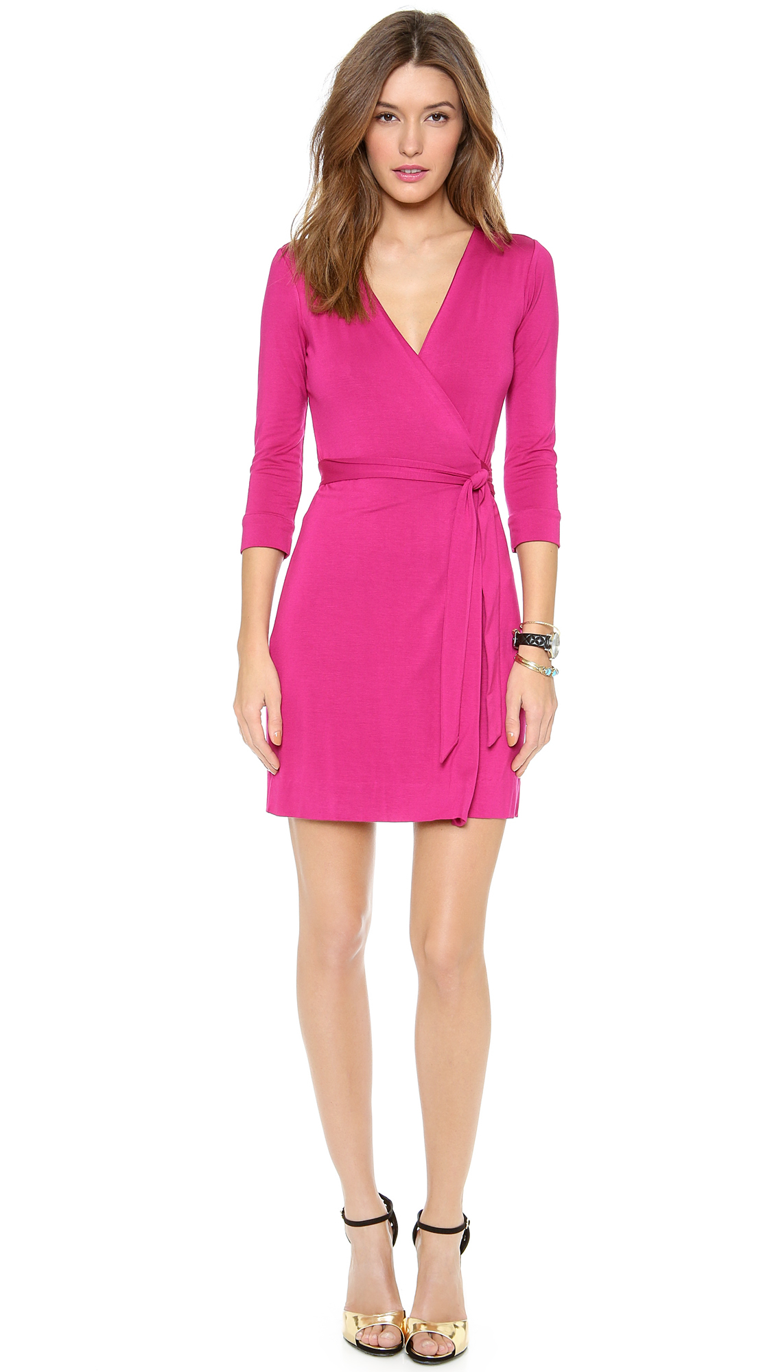 Diane von furstenberg new julian mini wrap dress in pink for Diane von furstenberg clothes