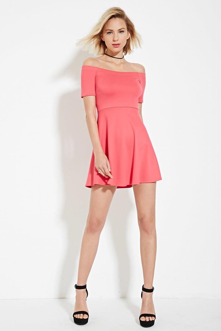 lyst forever 21 offtheshoulder dress in pink