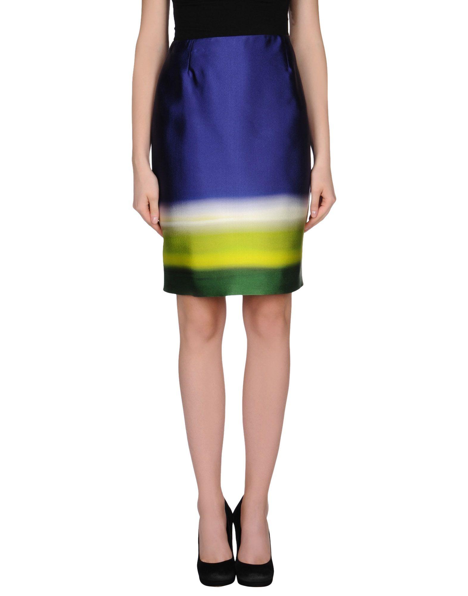 prada blue knee length skirt lyst