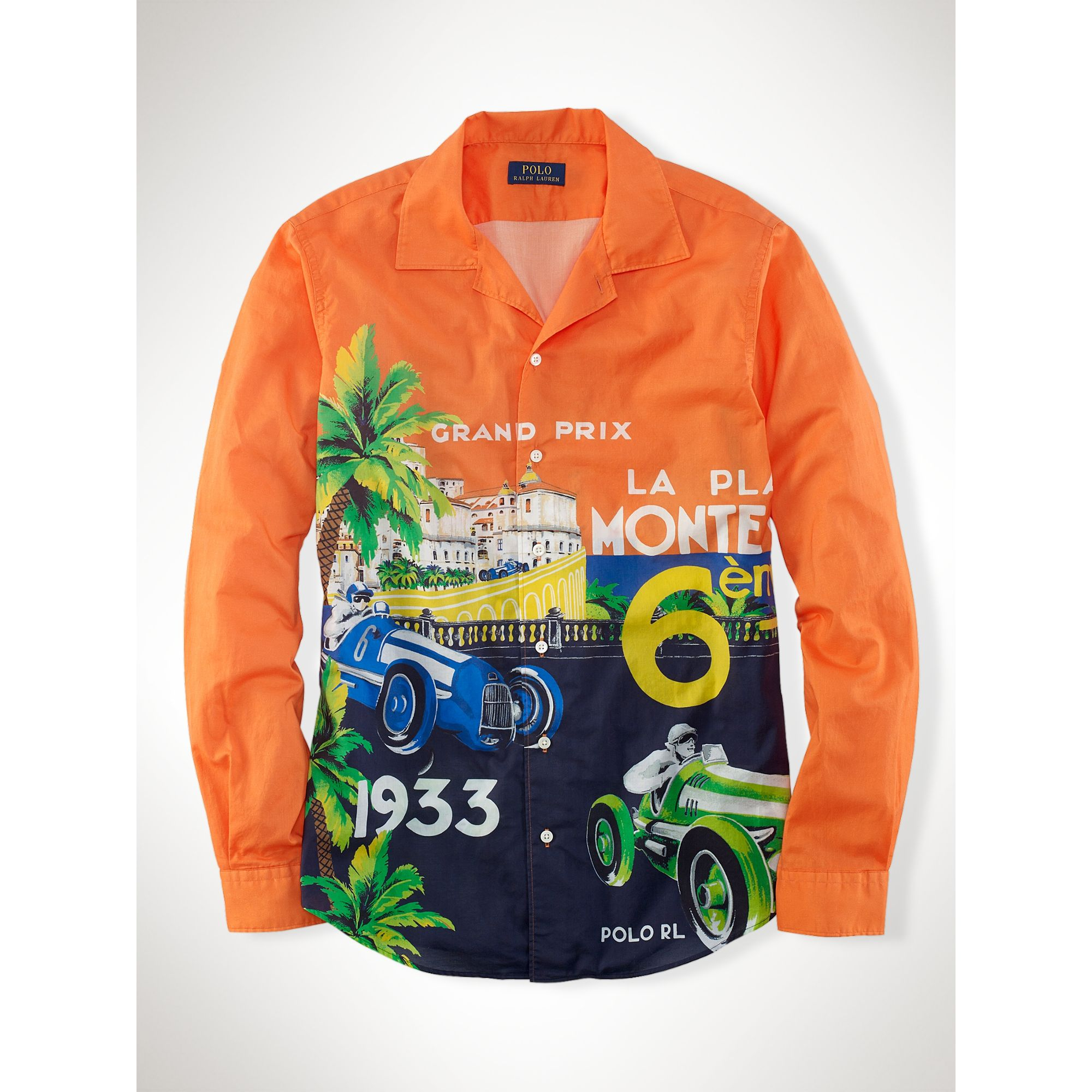 446bd3da Polo Ralph Lauren Race Car–Print Camp Shirt in Orange for Men - Lyst