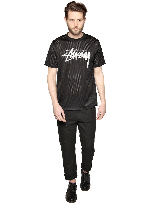 Lyst Stussy Stock Logo Mesh T Shirt In Black For Men