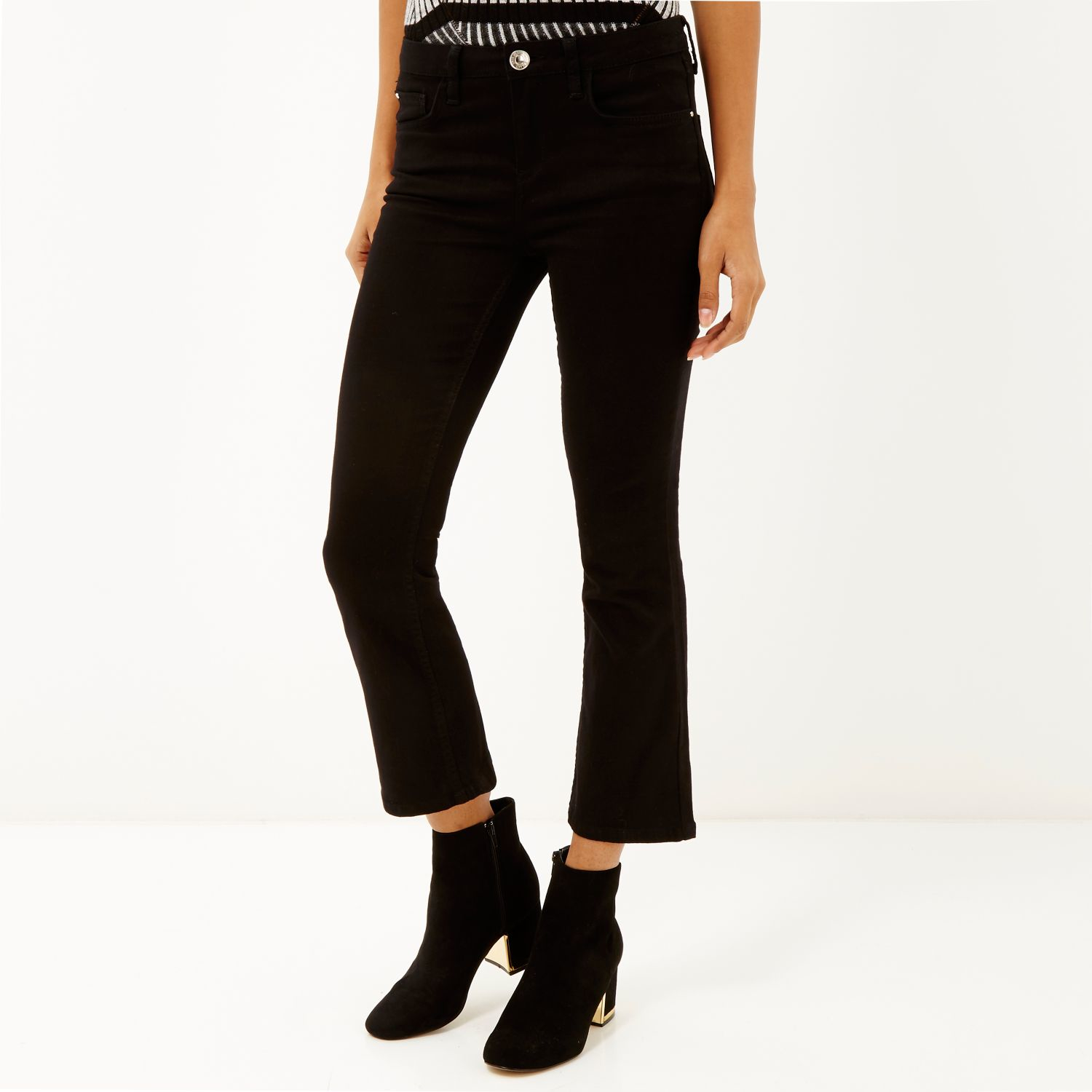 Womens Petite Black cropped flared jeans River Island