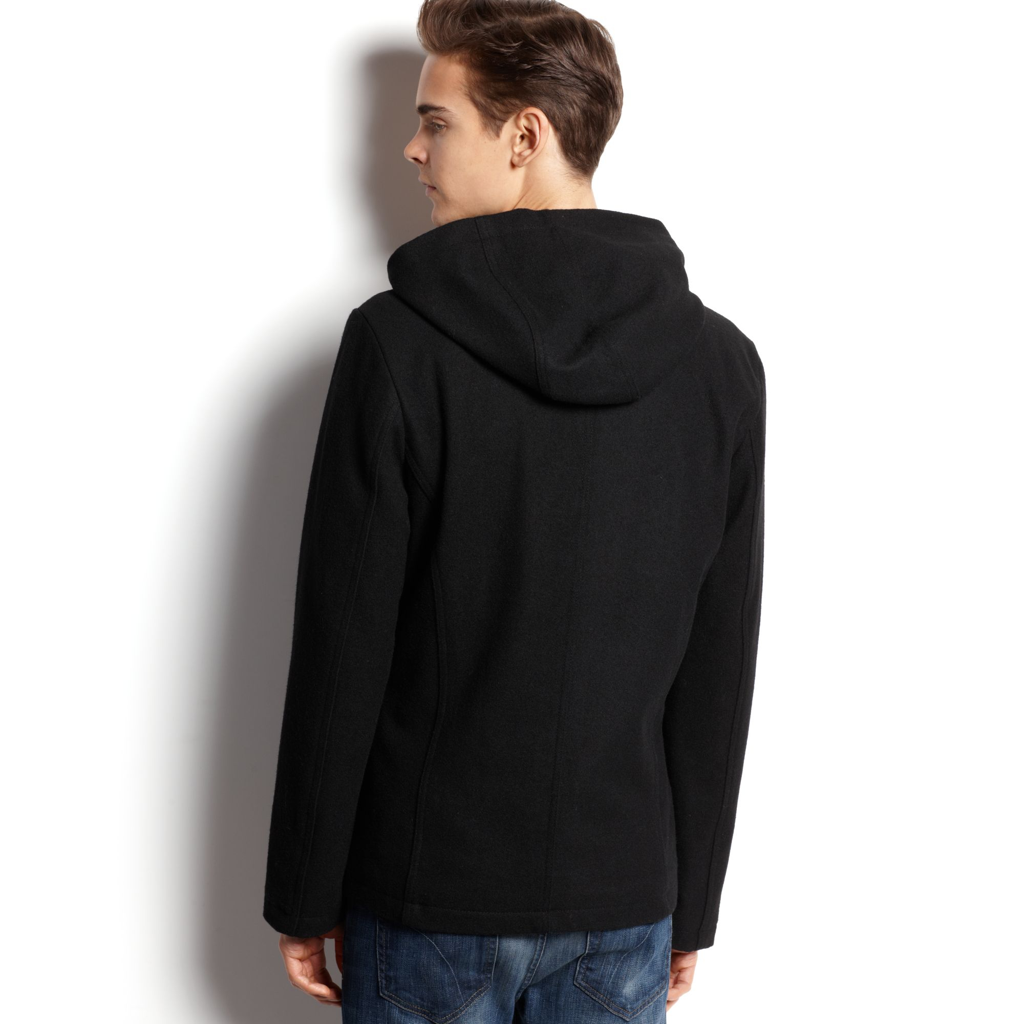 American rag Hooded Pea Coat in Black for Men | Lyst