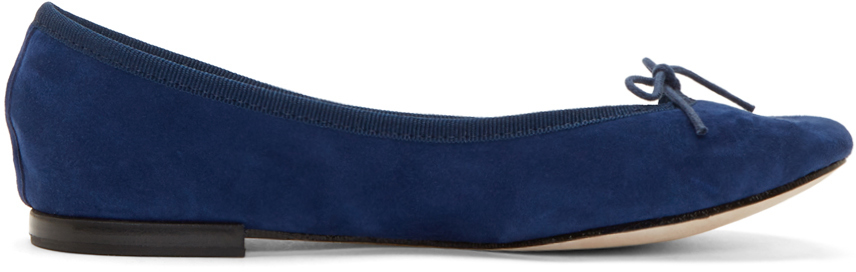 be345566bb9 Lyst - Repetto Navy Suede Cinderella Flats in Blue