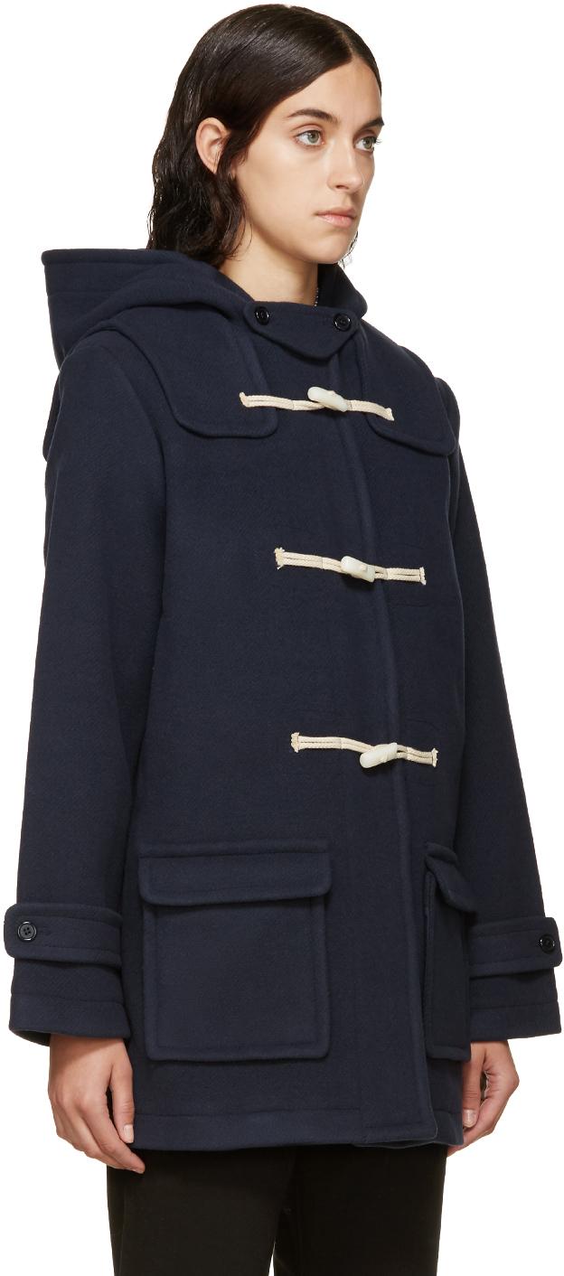 Ymc Navy Duffle Coat in Blue | Lyst