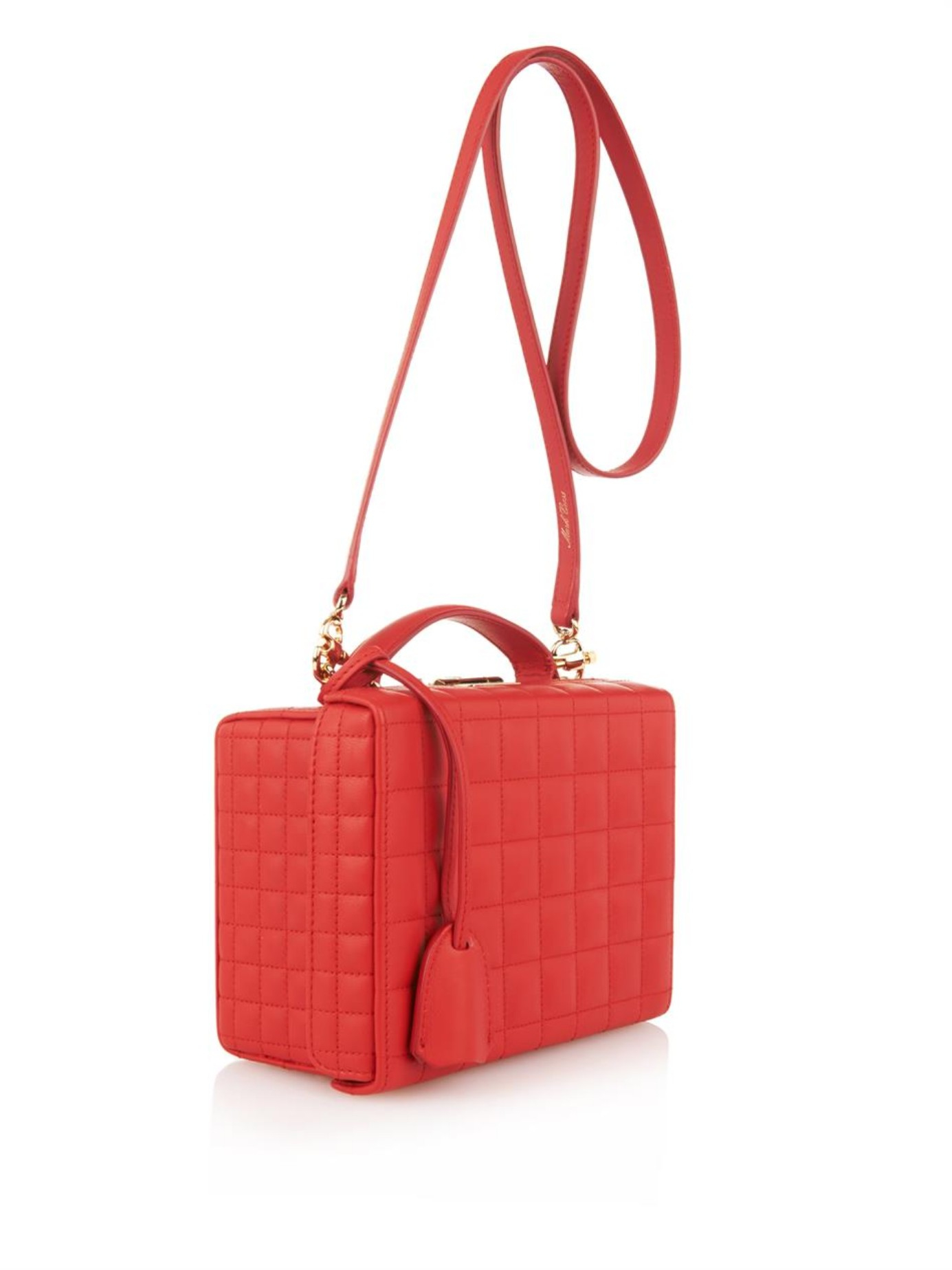 Mark cross Grace Small Quilted Leather Box Bag in Red | Lyst