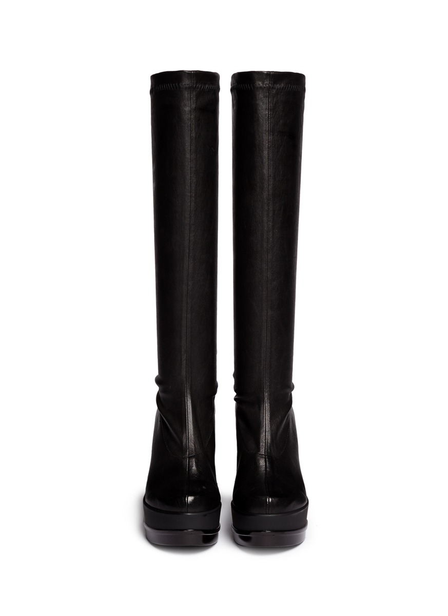 Robert clergerie 'sostij' Stretch Leather Wedge Knee High Boots in ...