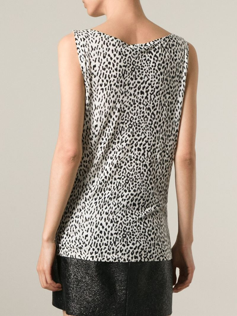 c8ff027b0d8efa Lyst - Saint Laurent Leopard Print Tank Top in White