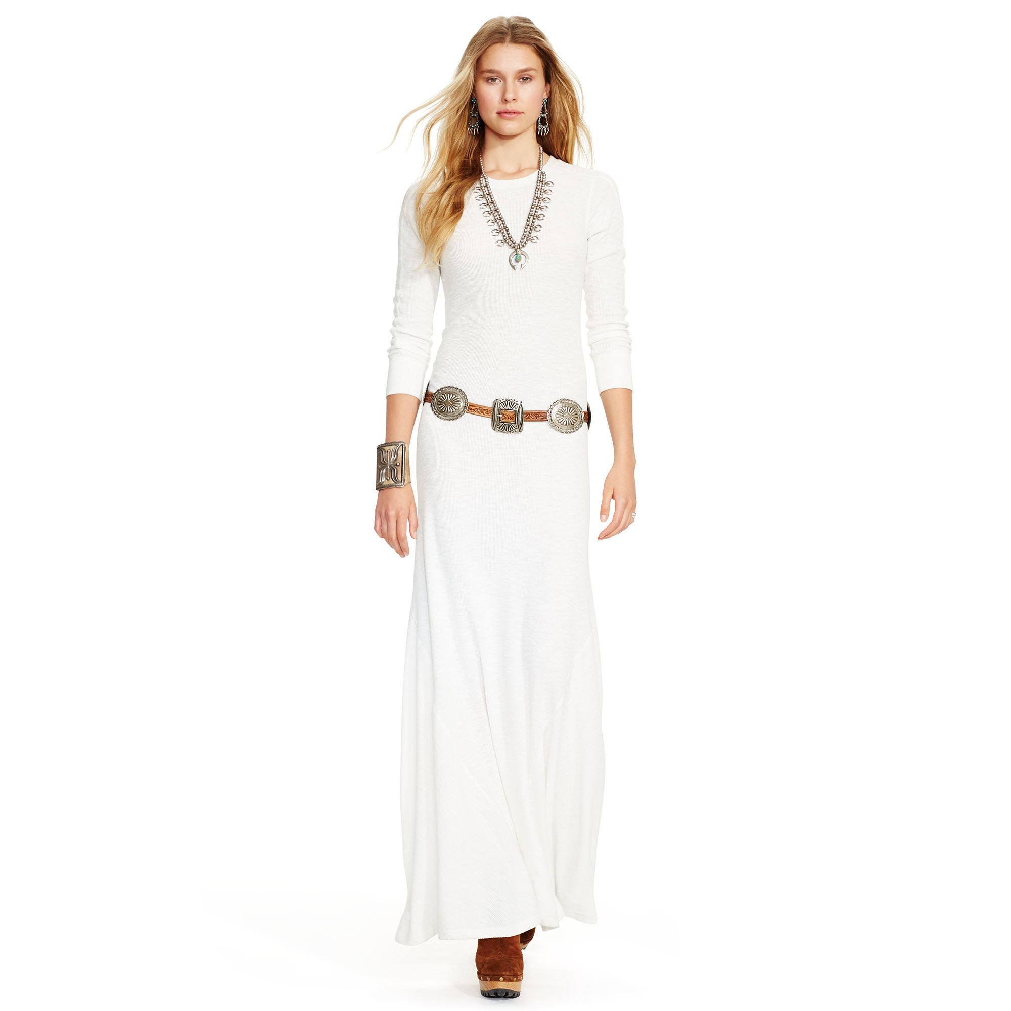 ce6f6bc2971 Polo Ralph Lauren Waffle-knit Cotton Maxidress in Natural - Lyst