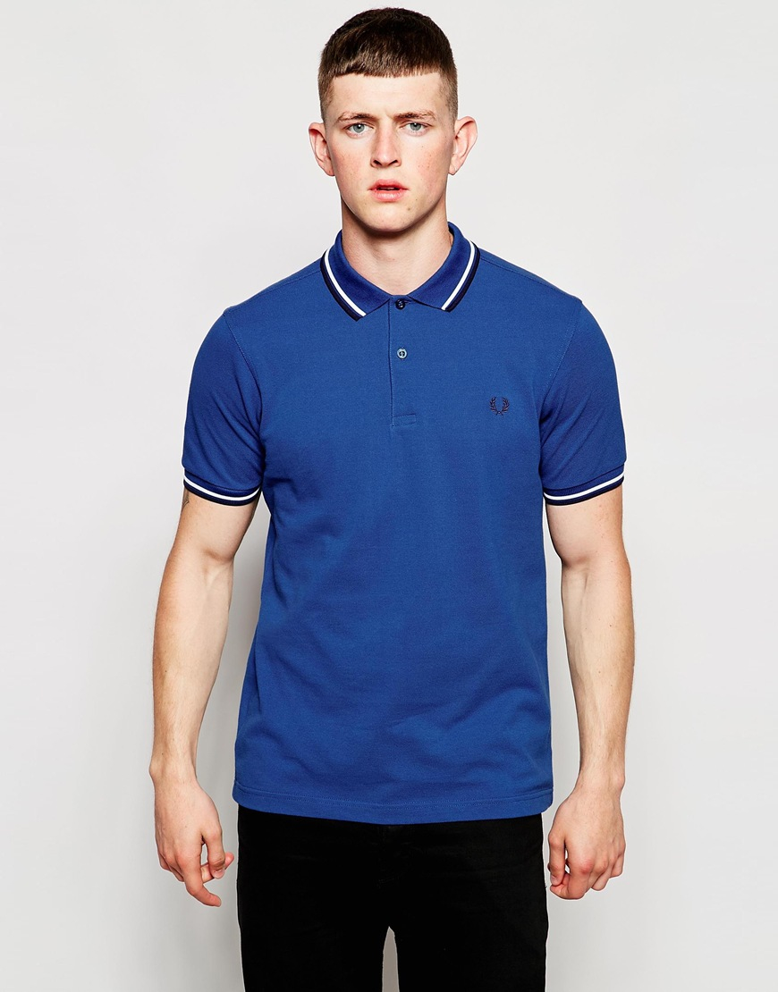 b1167fa2b Fred Perry Polo Shirt With Twin Tip In Slim Fit Royal Blue in Blue ...